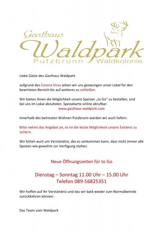 Gasthaus Waldpark - Coronaöffnungszeiten